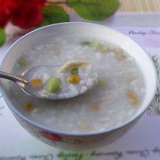 玉米青豆鸡丝粥