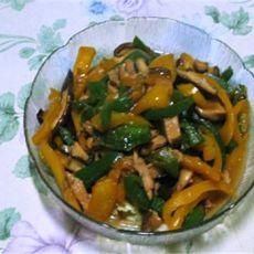 双椒香菇炒鸡肉丝的做法