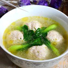 菜心鸡肉丸汤