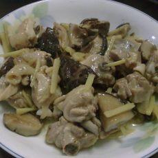 姜丝香菇焖鸡腿