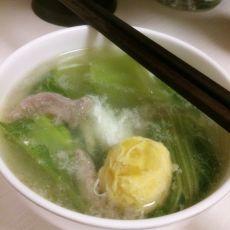 咸蛋肉片芥菜汤