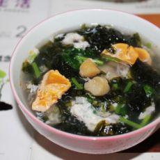 咸蛋干贝紫菜汤