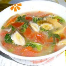 番茄皮蛋白菜汤