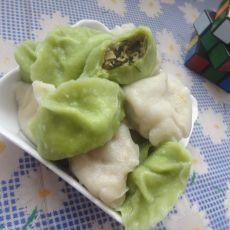 猪肉平菇青菜双色饺子
