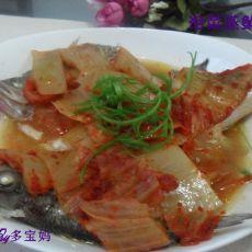 泡菜蒸鲈鱼