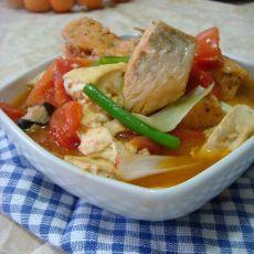 豆腐红烧三文鱼