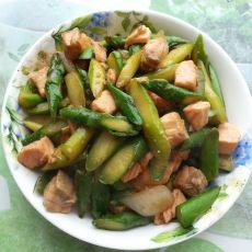三文鱼炒芦笋
