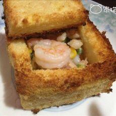 蒜香鲜虾土司盒