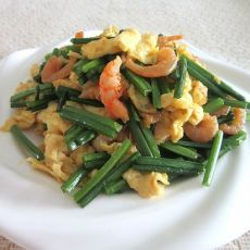 韭苔虾仁炒鸡蛋的做法