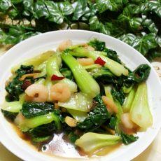 虾仁油菜的做法