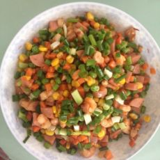 杂菜炒虾仁的做法