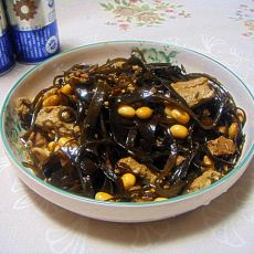 肉片熬海带黄豆冻豆腐的做法