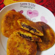 南瓜糯米红豆馅饼的做法