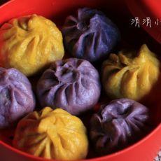 南瓜紫薯肉包子
