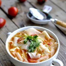 番茄蛋花片片汤的做法步骤
