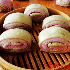 紫薯绿茶双色刀切馒头