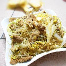 白菜瘦肉炒粉丝的做法