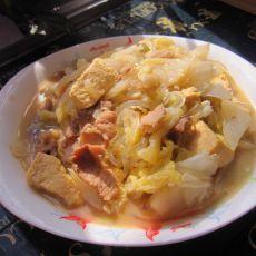 猪肉白菜炖冻豆腐