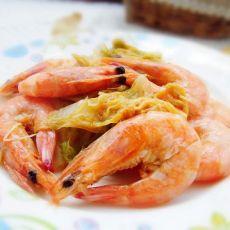 白菜炒虾的做法