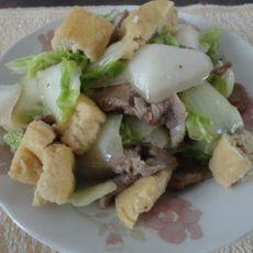 白菜炒豆腐泡