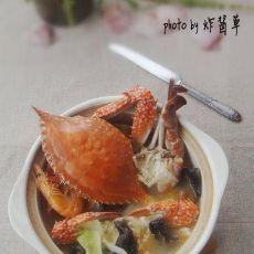 如何让冻蟹最大程度保留鲜味【海蟹蔬菜煲】