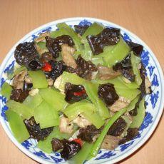 莴笋木耳炒肉片
