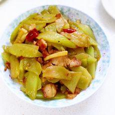 莴笋炒五花肉片