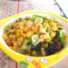 玉米粒炒生菜