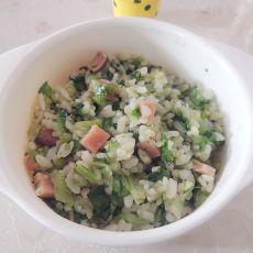 蚝油生菜火腿炒饭的做法