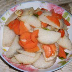 胡萝卜炒山药片的做法