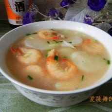 白虾山药汤的做法