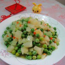 豌豆炒山药的做法