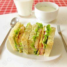 虾排三明治的做法