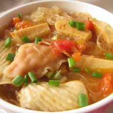 茄汁粉丝冻豆腐丸子汤