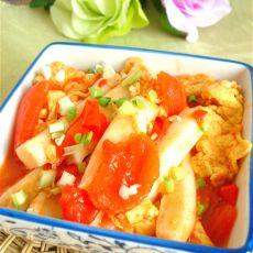 西红柿鸡蛋炒年糕的做法