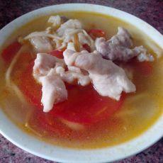 西红柿金针菇肉片汤