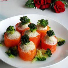 兰花鸡肉酿红盅的做法