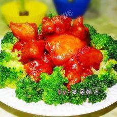 茄汁苹果鸡球