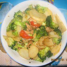 西兰花土豆片肉片的做法
