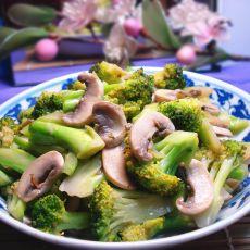 西兰花炒白蘑菇