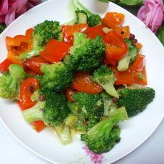 红椒炒西兰花