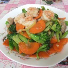西兰花虾仁炒胡萝卜