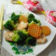 虾仁炒西兰花