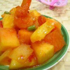青木瓜菠萝甜辣虾