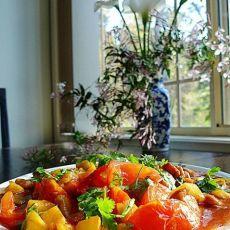 番茄菠萝炒鸡柳的做法