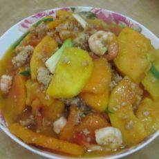 鲜虾肉末炒木瓜的做法