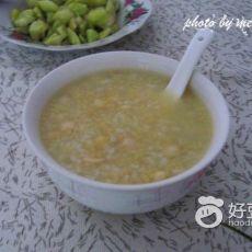 鲜玉米粒莲子粥的做法