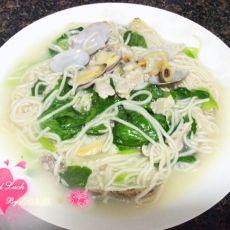 瘦肉花蛤汤面条