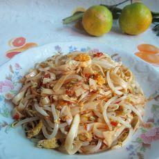 豆芽菜炒玉带面