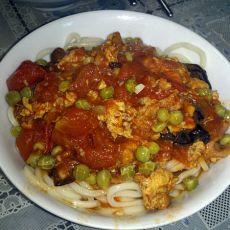 西红柿鸡蛋豌豆面条